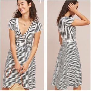 Anthropologie Maeve Navy Striped Dress
